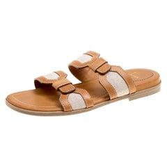 Christian Louboutin Leather  Cotton Blend Flat Mastic Flat Sandals  Size 42.5