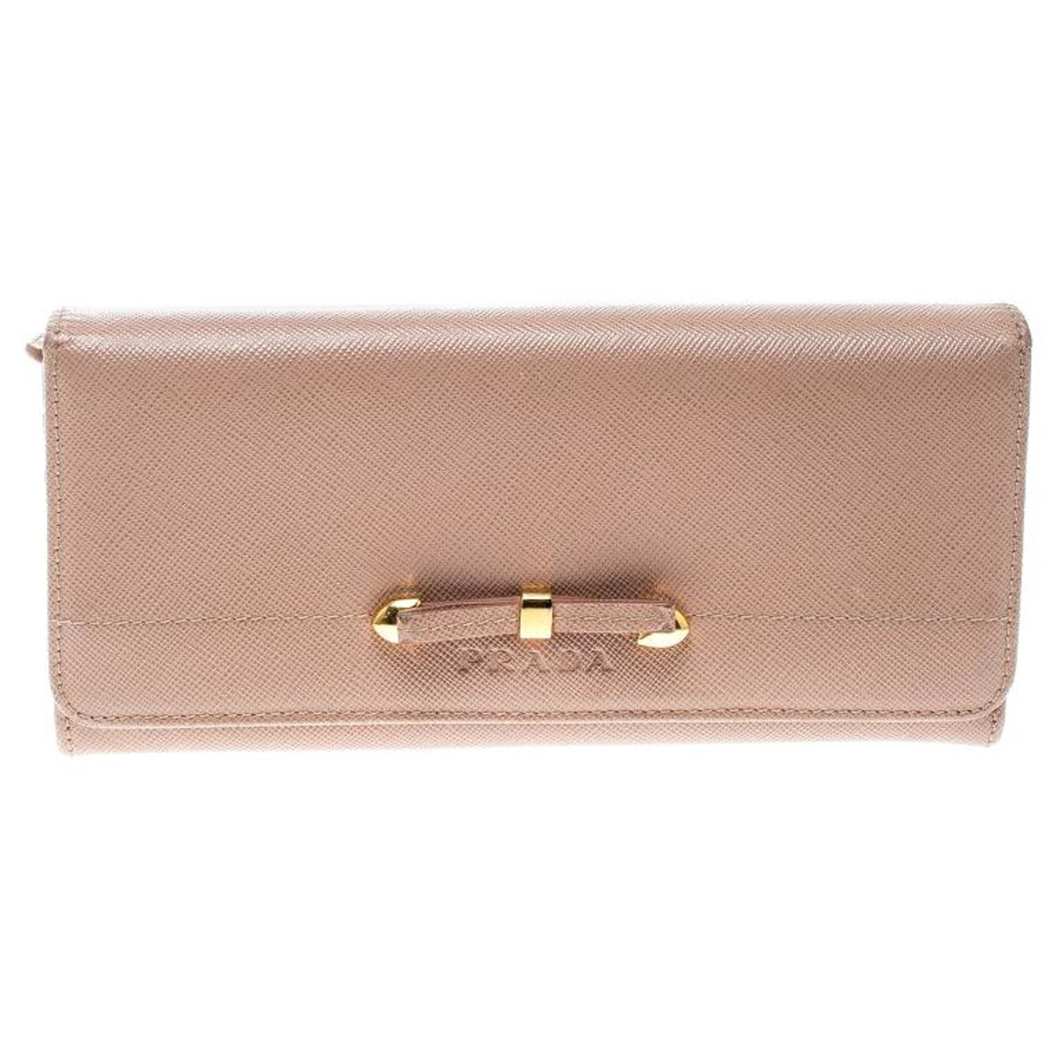 1b155fdfd666 Prada Beige Saffiano Leather Bow Continental Wallet For Sale at 1stdibs