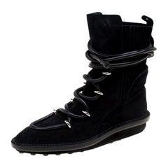 Balenciaga Black Suede Snow Mountain Ankle Boots Size 37