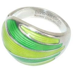 David Andersen Modernist Sterling Silver & Green Enamel Ring, 1960's