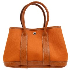 Hermes Orange Leather Canvas Top Handle Satchel Small Tote Bag in Box