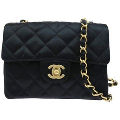 Chanel Black Satin Gold Small Mini Party Crossbody Shoulder Flap Bag