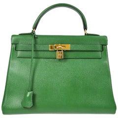 Hermes Kelly 32 Green Leather Gold Top Handle Satchel Shoulder Bag
