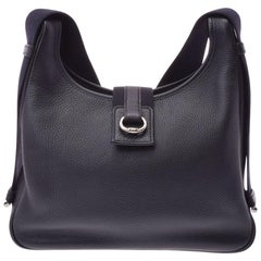 Hermes Black Leather Canvas Silver Hobo Carryall Shoulder Bag