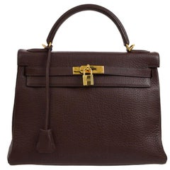 Hermes Kelly 32 Brown Leather Gold Top Handle Satchel Shoulder Bag