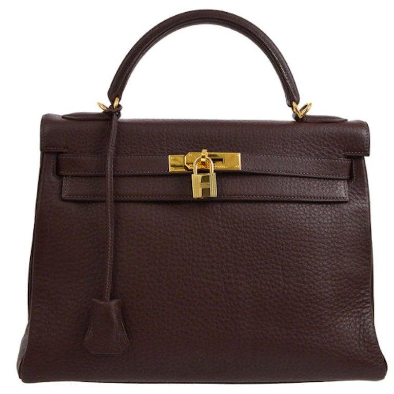 Hermes Kelly 32 Brown Leather Gold Top Handle Satchel Shoulder Bag