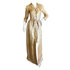 Oscar de la Renta Vintage Golden Brocade Dress as worn by CZ Guest to CFDA Award