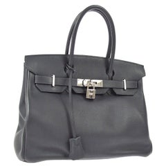 Hermes Birkin 30 Slate Gray Leather Silver Top Handle Satchel Tote Bag
