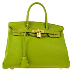 Hermes Birkin 30 Lime Green Leather Silver Top Handle Satchel Tote Bag in Box