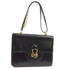 Hermes Black Leather Gold Emblem Top Handle Satchel Kelly Style Shoulder Flap
