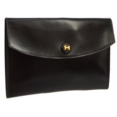 Hermes Chocolate Brown 'H' Charm Leather Evening Envelope Clutch Flap Bag