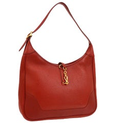 Hermes Red Leather Gold Accent Hardware Hobo Carryall Shoulder Flap Bag
