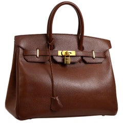 Hermes Birkin 35 Chocolate Leather Gold Travel Carryall Top Handle Satchel Tote