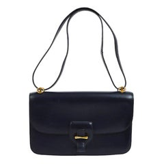 Hermes Blue Leather Gold Evening Top Handle Satchel Shoulder Flap Bag