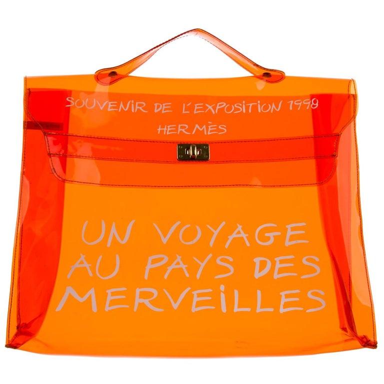 Hermes Kelly Orange Clear Carryall Travel Top Handle Satchel Tote Bag