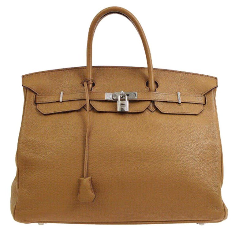 Hermes Birkin 40 Taupe Leather Silver Travel Carryall Top Handle Satchel Tote