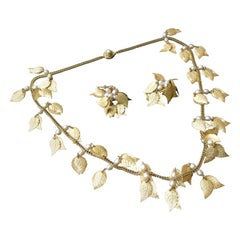 Miriam Haskell Brass Leaf & Pearl Necklace - Earring Set Circa 1950s