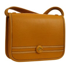 Hermes Cognac Leather Gold Crossbody Carryall Shoulder Flap Bag