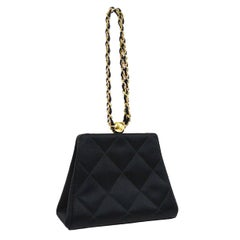 Chanel Black Satin Quilted Small Evening Mini Party Top Handle Satchel Bag