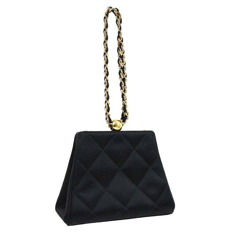 Chanel Black Satin Quilted Small Evening Mini Party Top Handle Satchel Bag For Sale