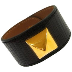 Hermes Black Leather Lizard Gold Stud Men's Women's Evening Cuff Bracelet in Box
