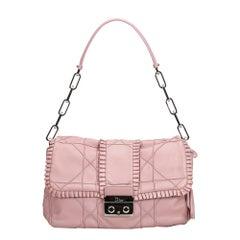 Dior Pink Leather New Lock Ruffle Flap Bag