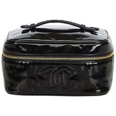 Chanel Black Patent Leather CC Vanity Bag