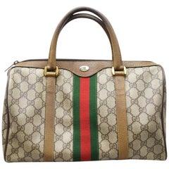 Gucci Boston Supreme Monogram Sherry Web 867957 Brown Coated Canvas Satchel