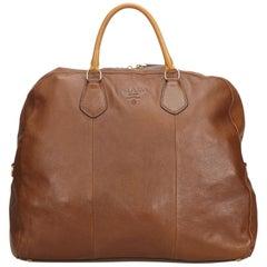 Prada Brown Leather Duffle Bag