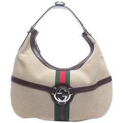 Gucci Sherry Reins Web Hobo 868009 Beige Canvas Shoulder Bag