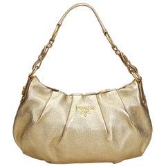 Prada Gold Leather Hobo Bag