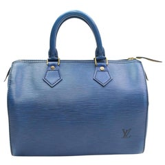 Louis Vuitton Speedy Epi 25 868003 Blue Leather Satchel