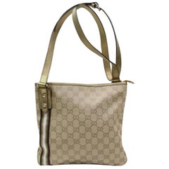 Gucci Monogram Gg Gold Web 867494 Beige Canvas Cross Body Bag