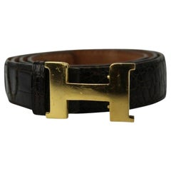 Hermès Brown Crocodile Strap 24 Mm Gold Buckle Hejy28 Belt