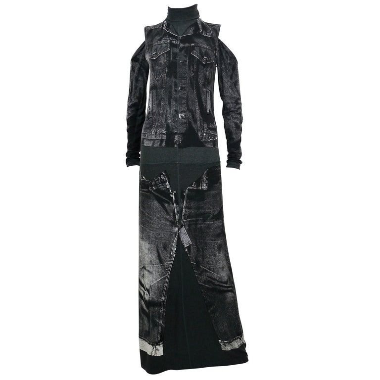 Jean Paul Gaultier Trompe L'oeil Maxi Dress with Detachable Sleeves For Sale