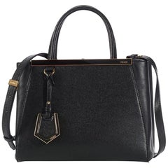 Fendi Petite 2jours 2way Tote 869621 Black Leather Shoulder Bag