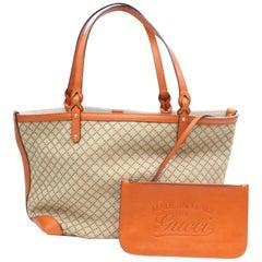 Gucci Diamante Monogram Shopper Tote with Pouch 868909 Orange Canvas Shoulder Ba