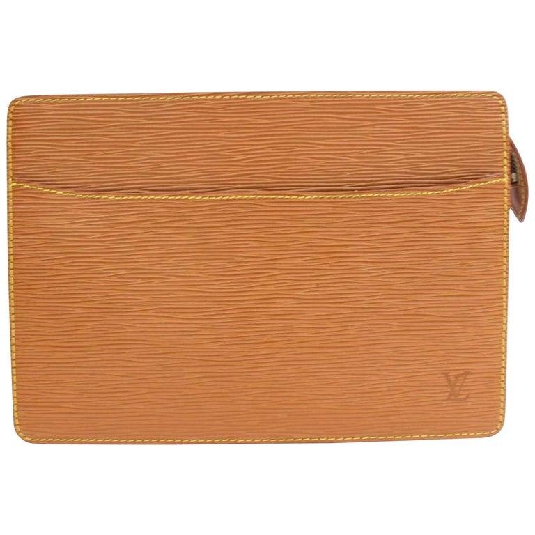 732a167c13c8 Louis Vuitton Pochette Homme Zip Pouch 868345 Brown Leather Clutch For Sale