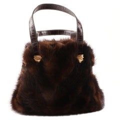 Real Mink Fur Goldplate Frame Handbag-Italian- Lungo del Firenze-Valentino style