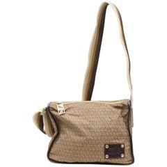 Fendi Monogram Cross Body 867634 Brown Nylon Messenger Bag