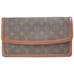 Louis Vuitton Pochette Monogram Dame 26 867624 Brown Coated Canvas Clutch