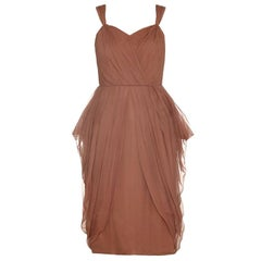 Vintage 1960s Pale Russet Pleated Silk Chiffon Cocktail Dress