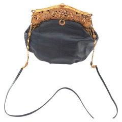 Baroque c.1925 Handbag-22 K Gold plate Cherub Frame with Lizard Skin-A Treasure