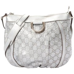 Gucci Metallic Guccissima Messenger 868781 Silver Leather Shoulder Bag