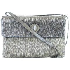 Bottega Veneta Mesh Crossbody Turnlock Flap 9bvr1106 Silver Leather Shoulder Bag