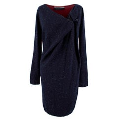 Roland Mouret Navy and Red Wool and Silk Blend Dress US 8