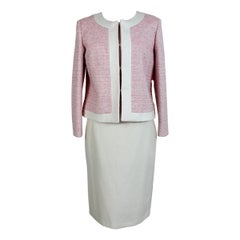 1990s Krizia Poi New Pink White Boucle Cotton Skirt Suit