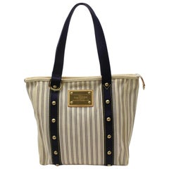 Louis Vuitton Cabas Limited Edition Navy Striped Antigua Mm 868893 Blue Canvas T