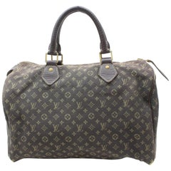 Louis Vuitton Speedy Ebene Monogram Mini Lin 30 869674 Brown Canvas Satchel