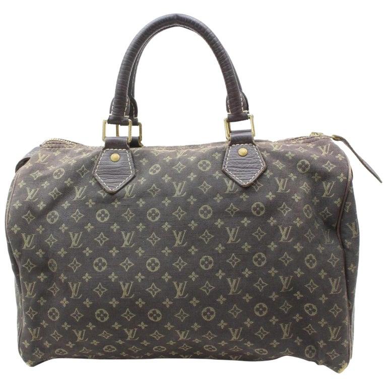86f93dd40b1f Louis Vuitton Speedy Ebene Monogram Mini Lin 30 869674 Brown Canvas Satchel  For Sale